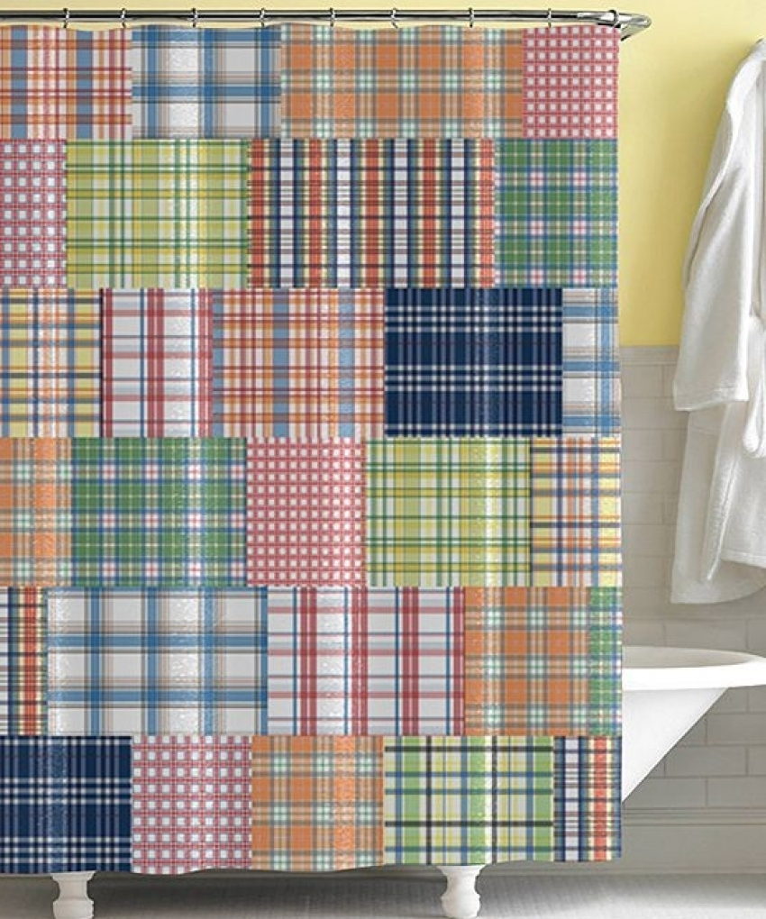 by shower product curtain yellow curtains checkered latrelel