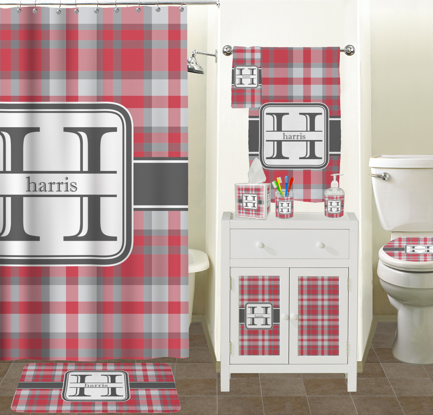 Red Gray Plaid Shower Curtain Personalized Potty Training with regard to measurements 1500 X 1436