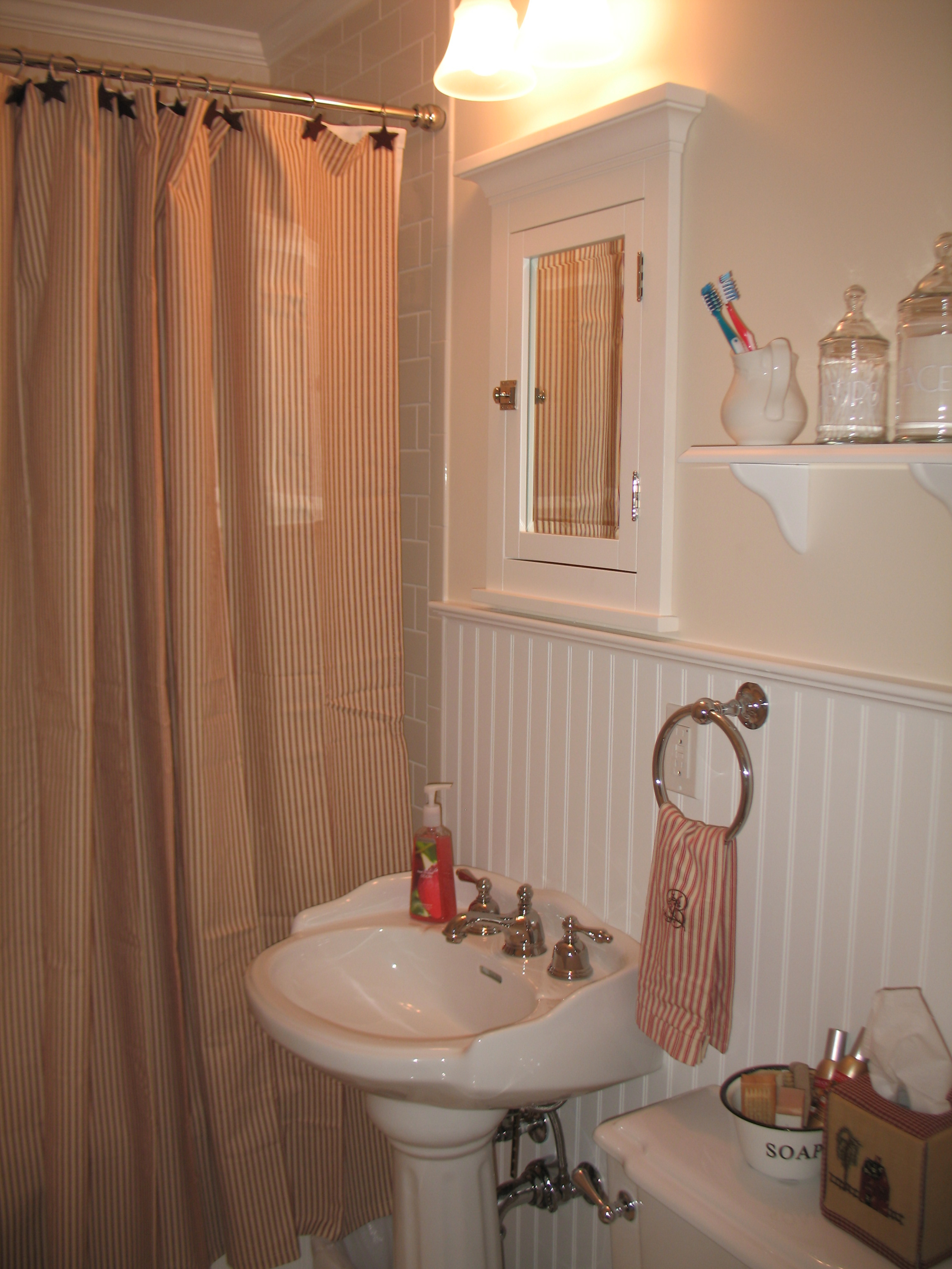 Red Ticking Striped Shower Curtain On Stainless Hook Connected Within Proportions 2304 X 3072