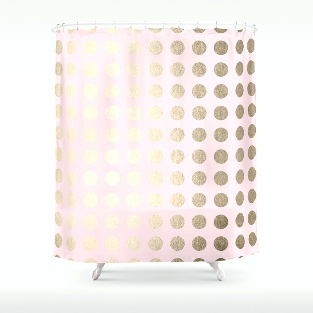 Black Pink Polka Dot Shower Curtain • Shower Curtains Ideas