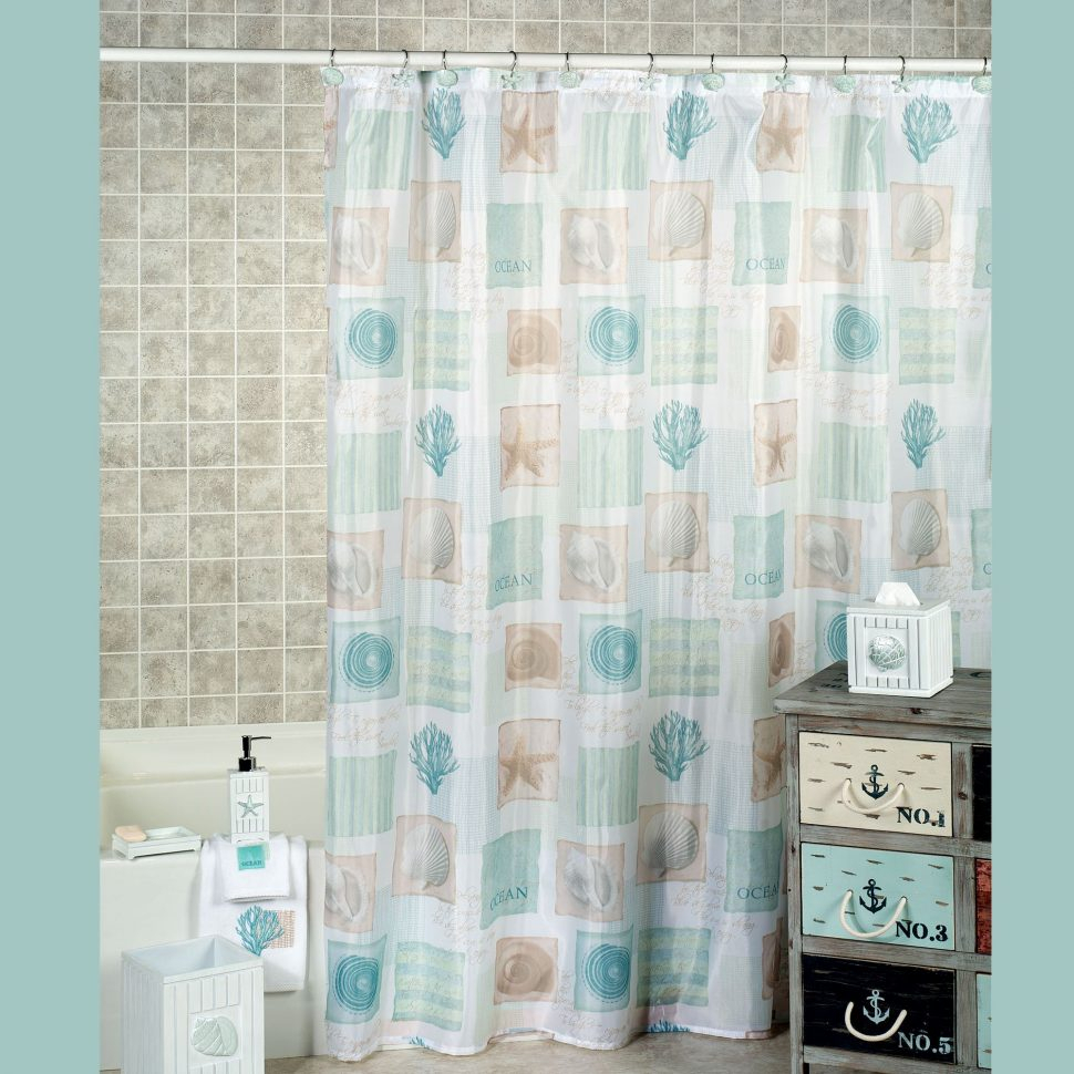 Seashell Shower Curtain Hooks Curtains Design Pertaining To Dimensions 970 X