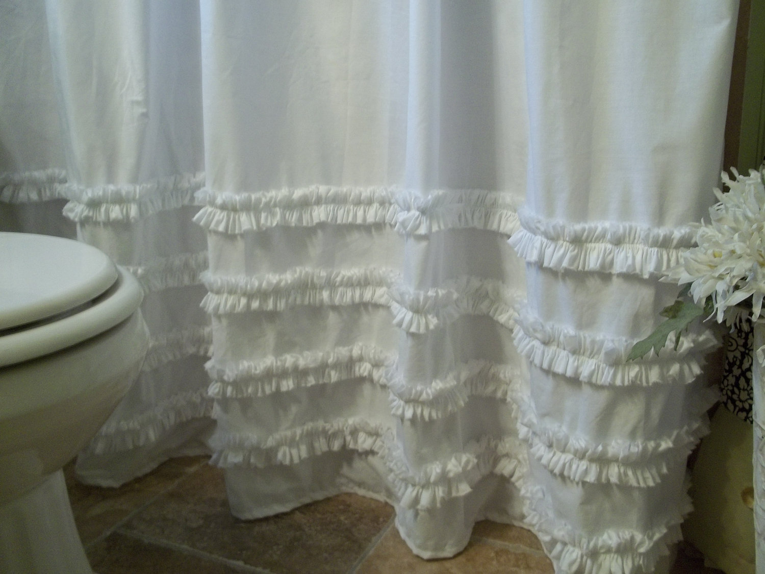 Simply Shabby Chic White Shower Curtain • Shower Curtains Ideas