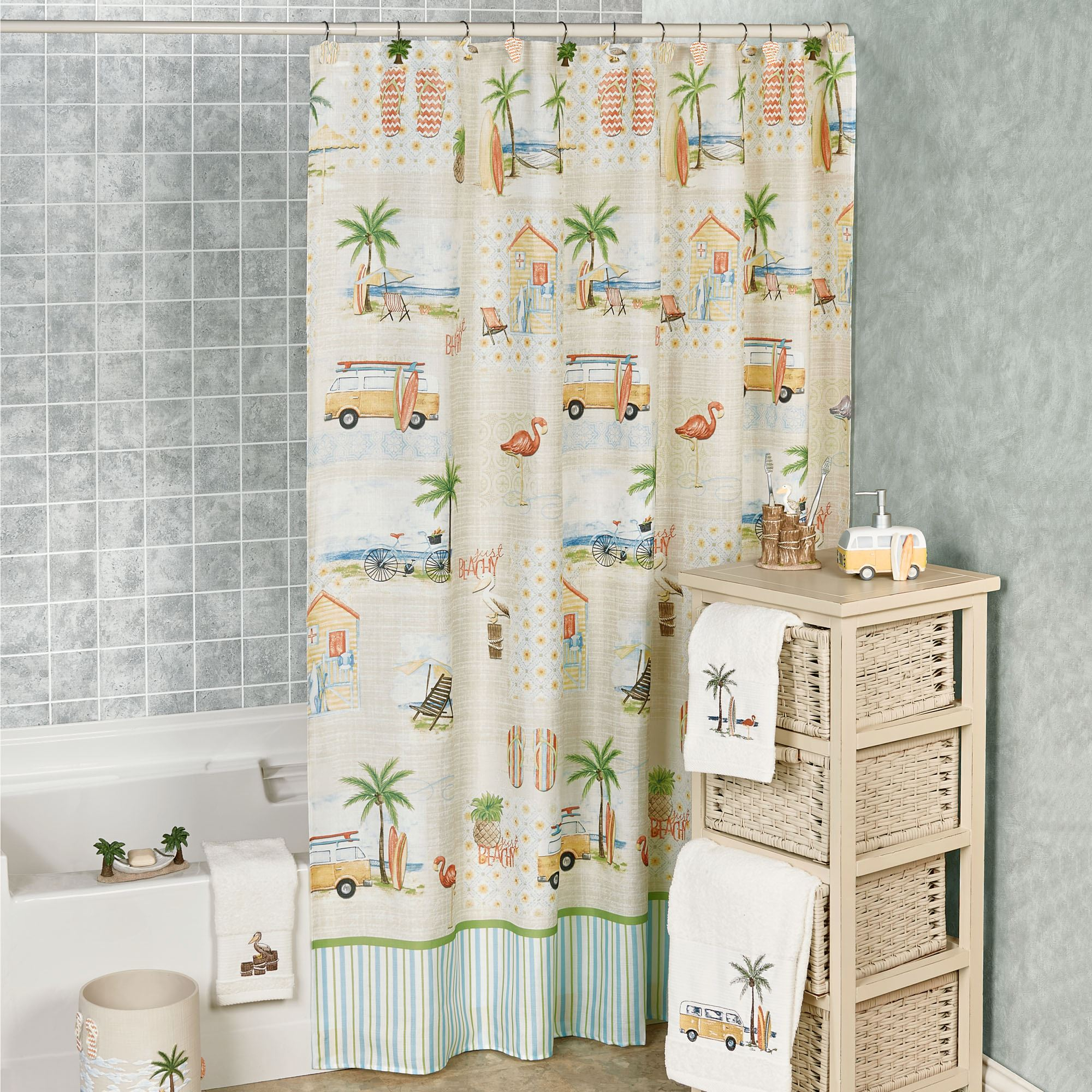 Shorething Retro Beach Themed Shower Curtain with sizing 2000 X 2000