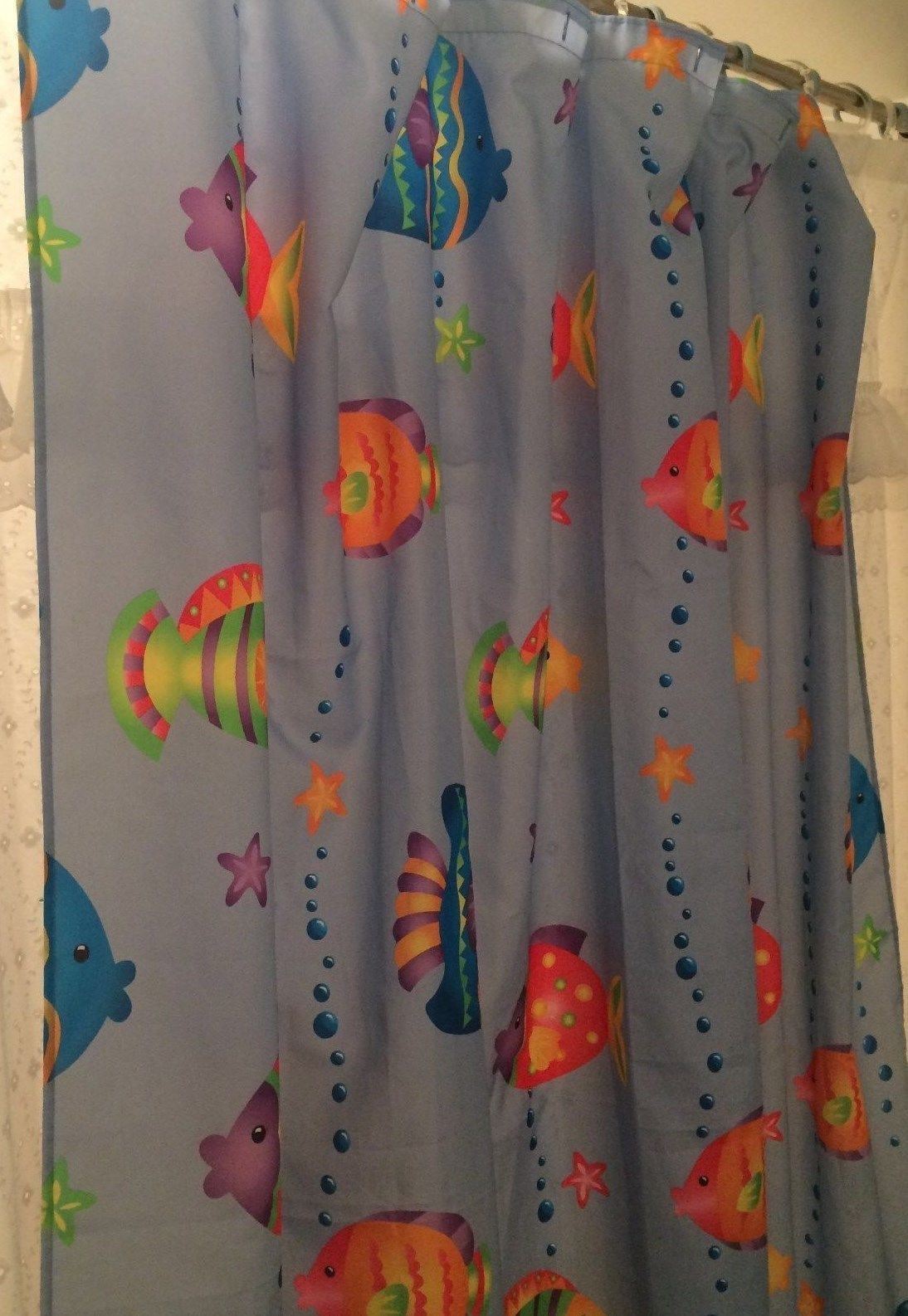 Shower Curtain Nautical Ocean Sea Life Whimsical Fish Colorful For Dimensions 1094 X 1586