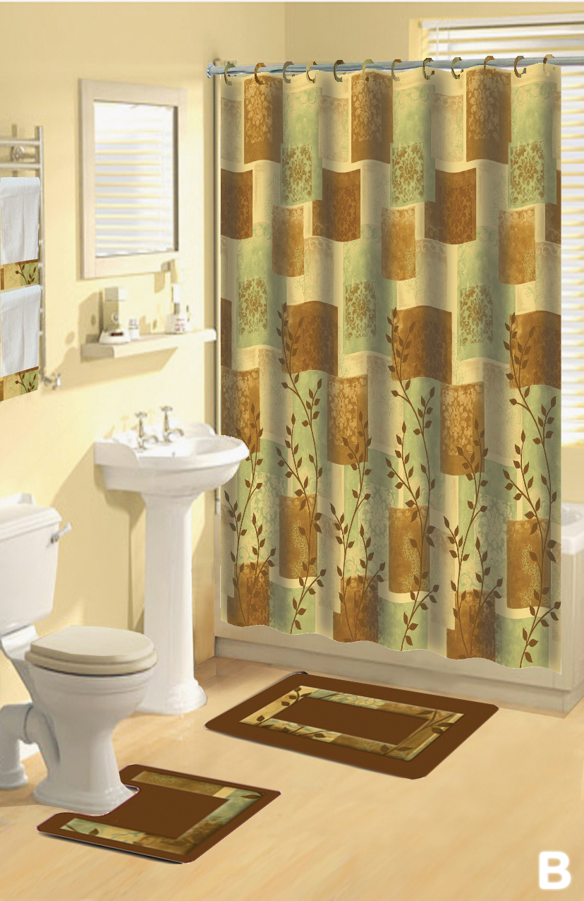 Shower Curtains 17 Pcs Set Contemporary Bath Mat Contour Rug Hooks Throughout Sizing 828 X 1276