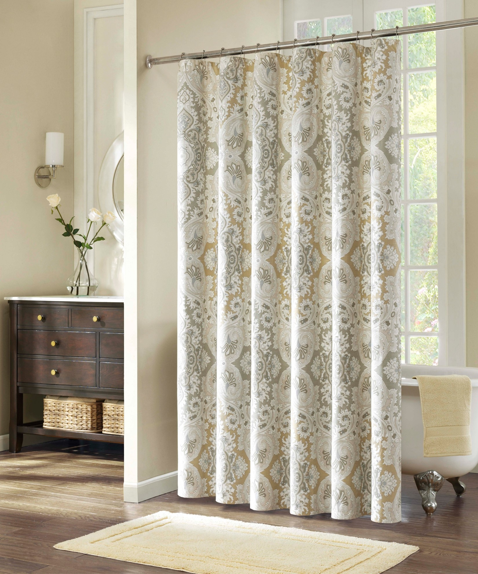 Shower Curtains And Matching Window Blinds Curtain Rods And With Regard To  Proportions 1650 X 1980