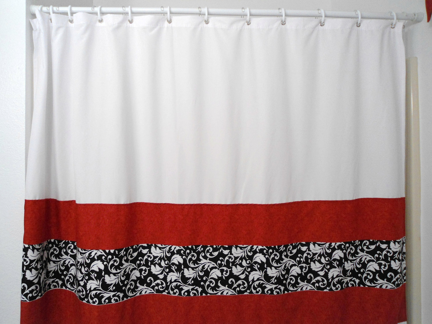 Shower Curtains Red Black White Decor Kitchens And Interiors With Sizing 1500 X 1125