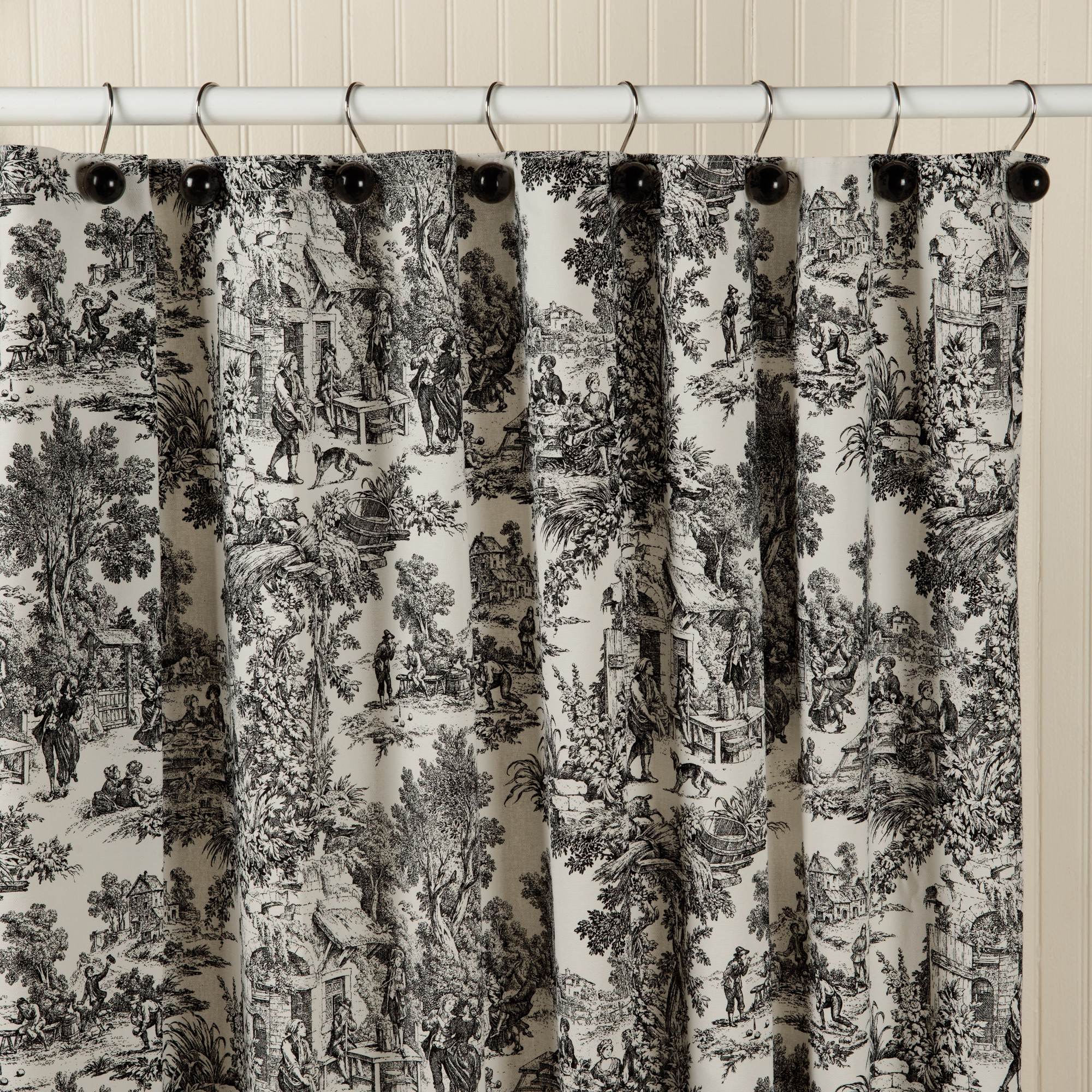 Toile Shower Curtains Black White • Shower Curtains Ideas