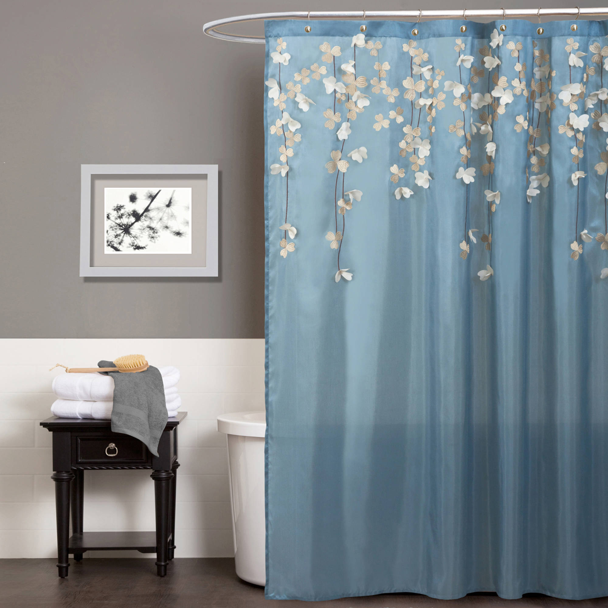 Pink And Navy Blue Shower Curtain • Shower Curtains Ideas