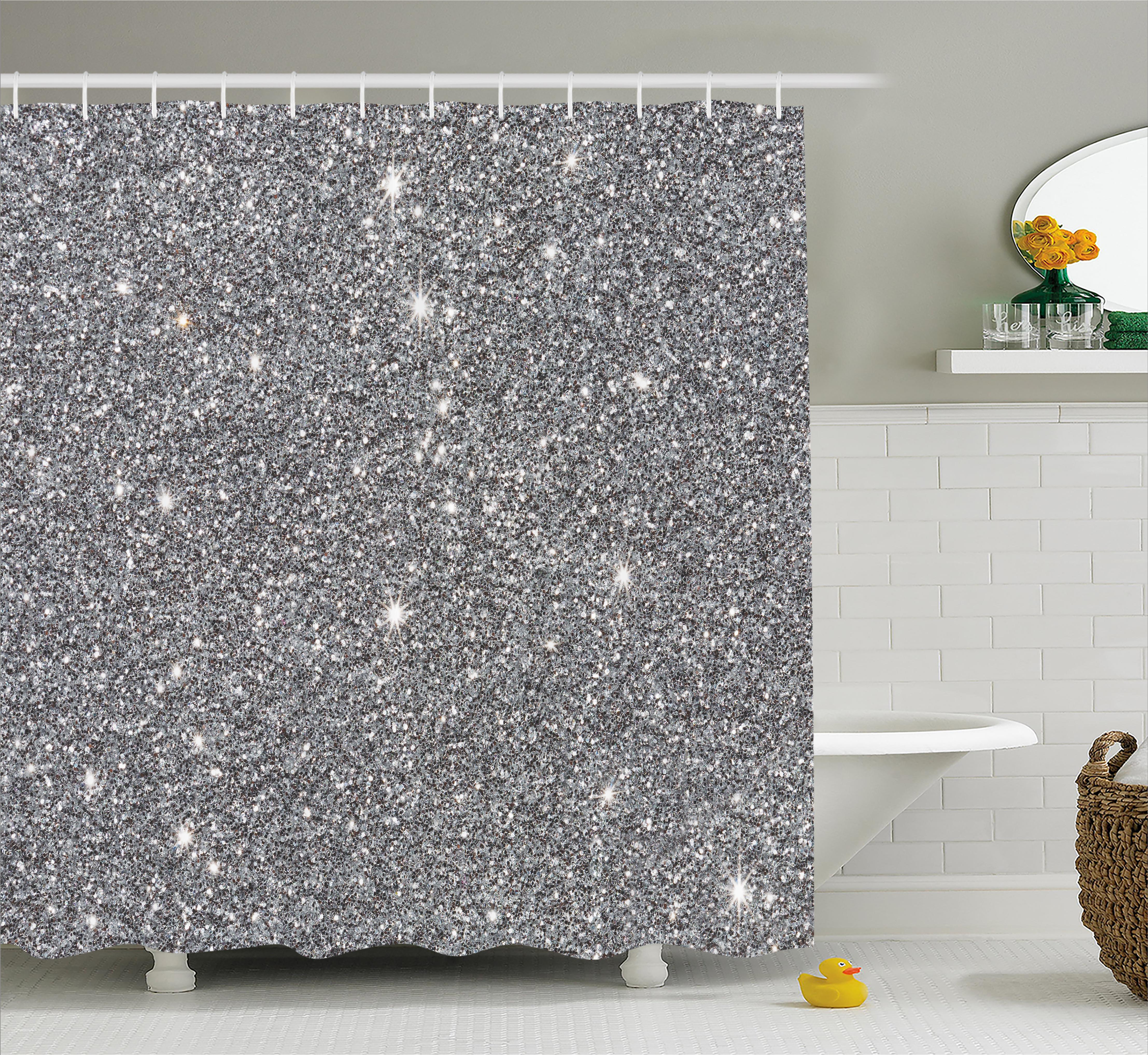 Silver Shower Curtain Set Glamour Glitters Themed Luxury Shiny Throughout Dimensions 4429 X 4074