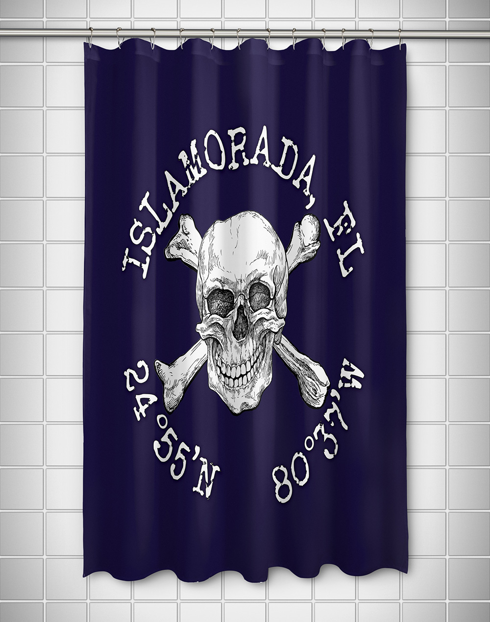 Skull Crossbones Coordinates Shower Curtain Navy in sizing 1000 X 1270
