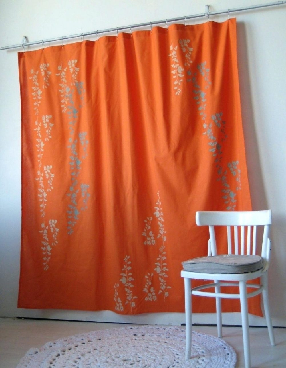 Solid Burnt Orange Shower Curtain Design Within Proportions 1002 X 1292