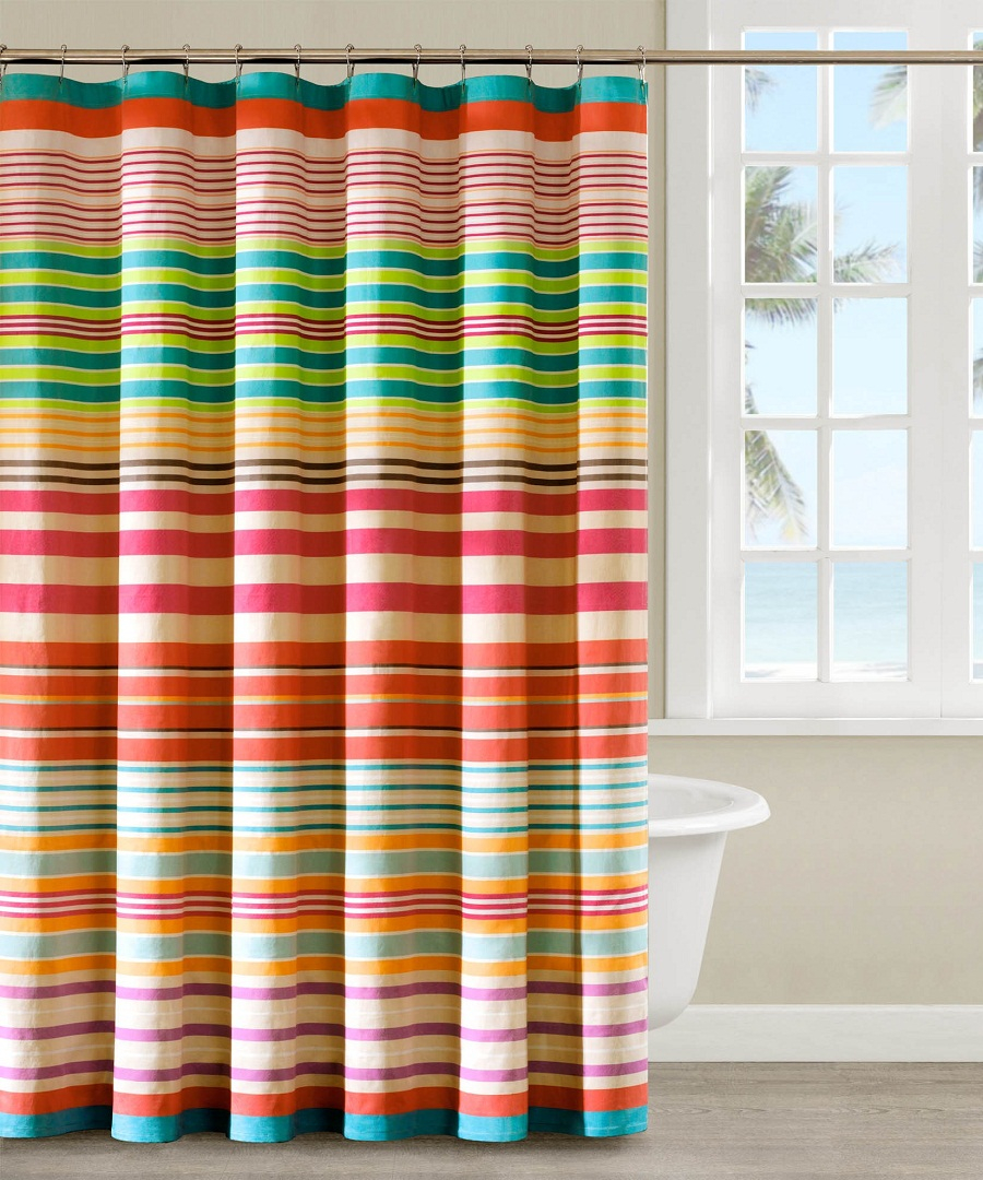 Orange Horizontal Stripe Shower Curtain • Shower Curtains Ideas