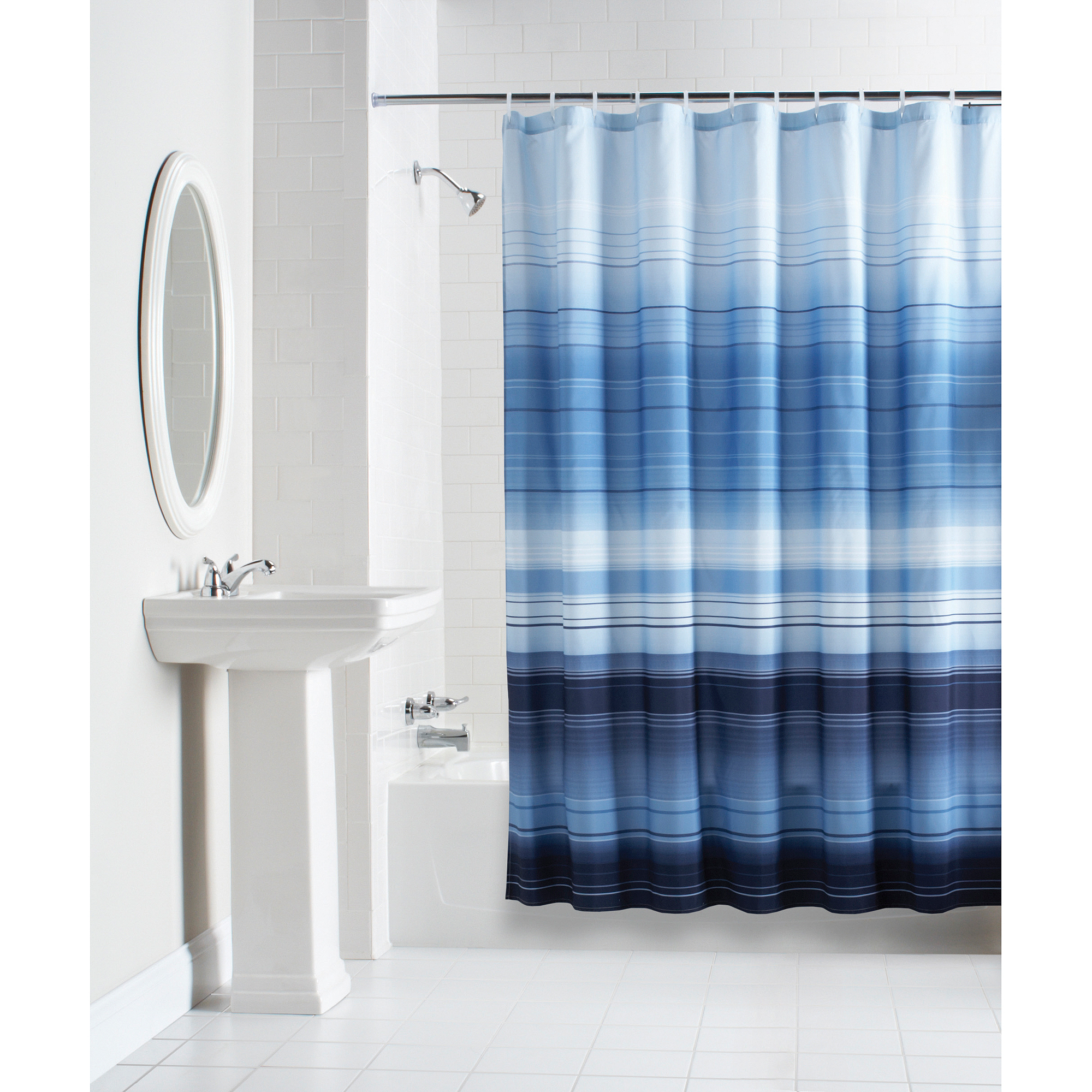 Blue Striped Shower Curtains • Shower Curtains Ideas
