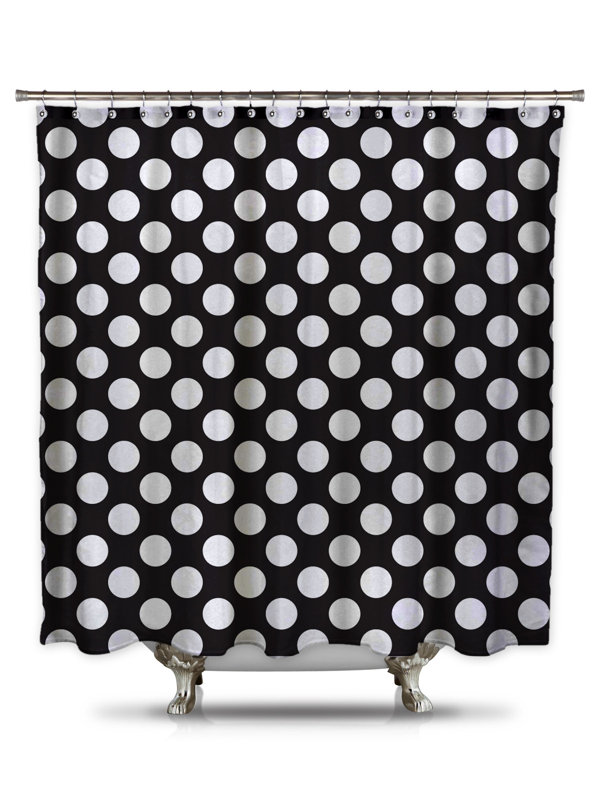 Stylish Decoration Black And White Polka Dot Shower Curtain With Regard To Sizing 1200 X 1586