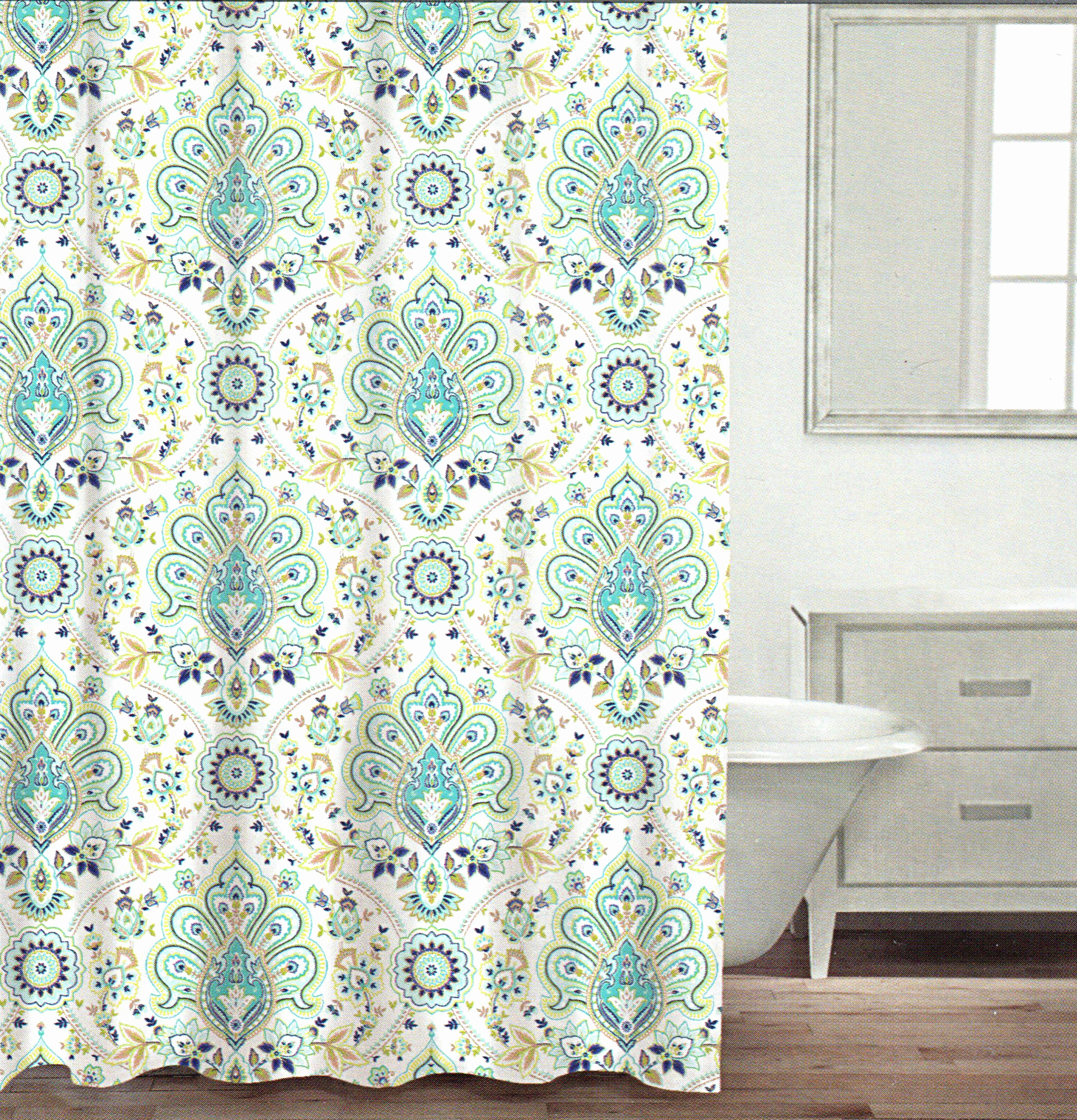 Teal And Black Shower Curtain Inspirational Curtains Pertaining To Proportions 2062 X 2144 Damask Ideas