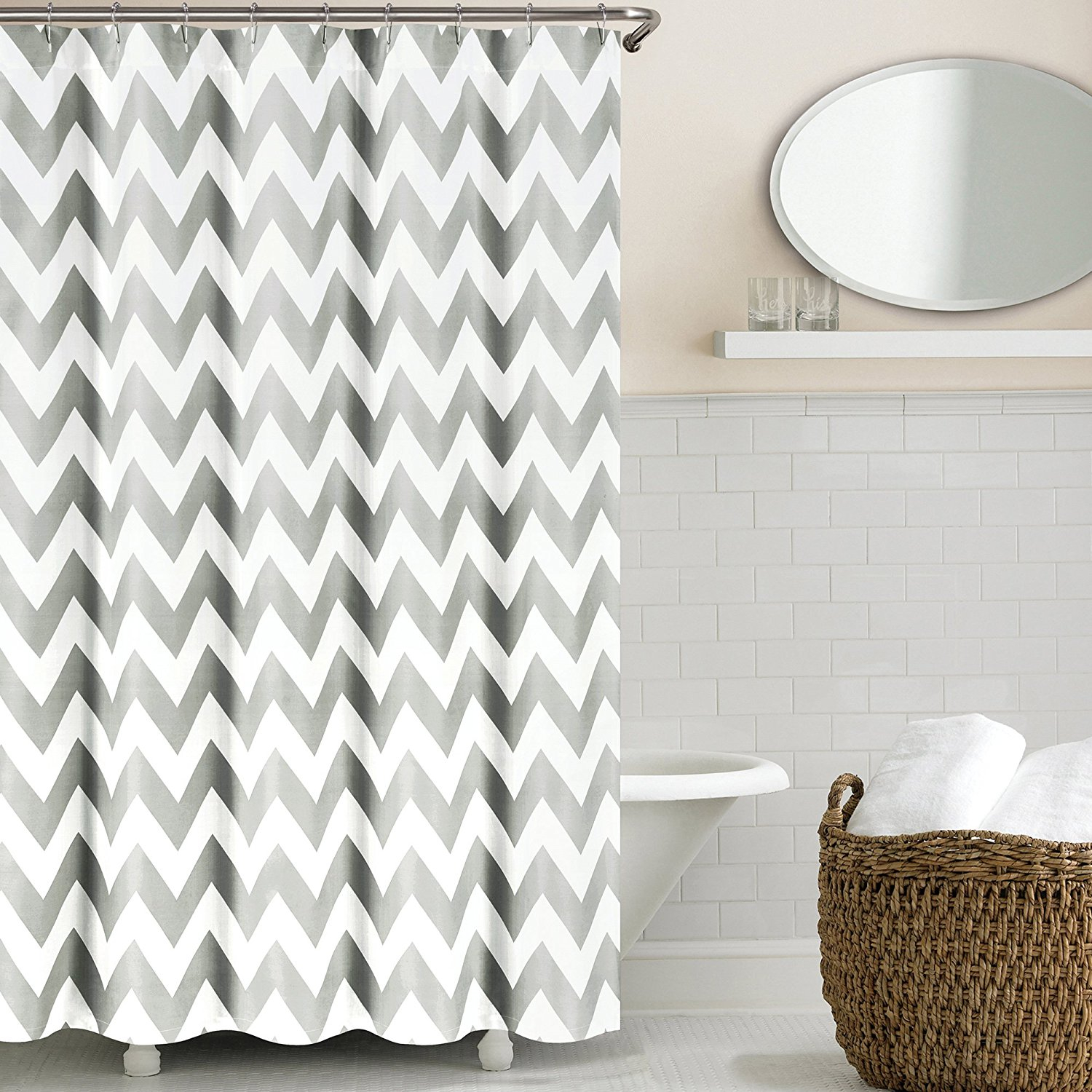 Teal And White Chevron Shower Curtain Shower Curtains Ideas