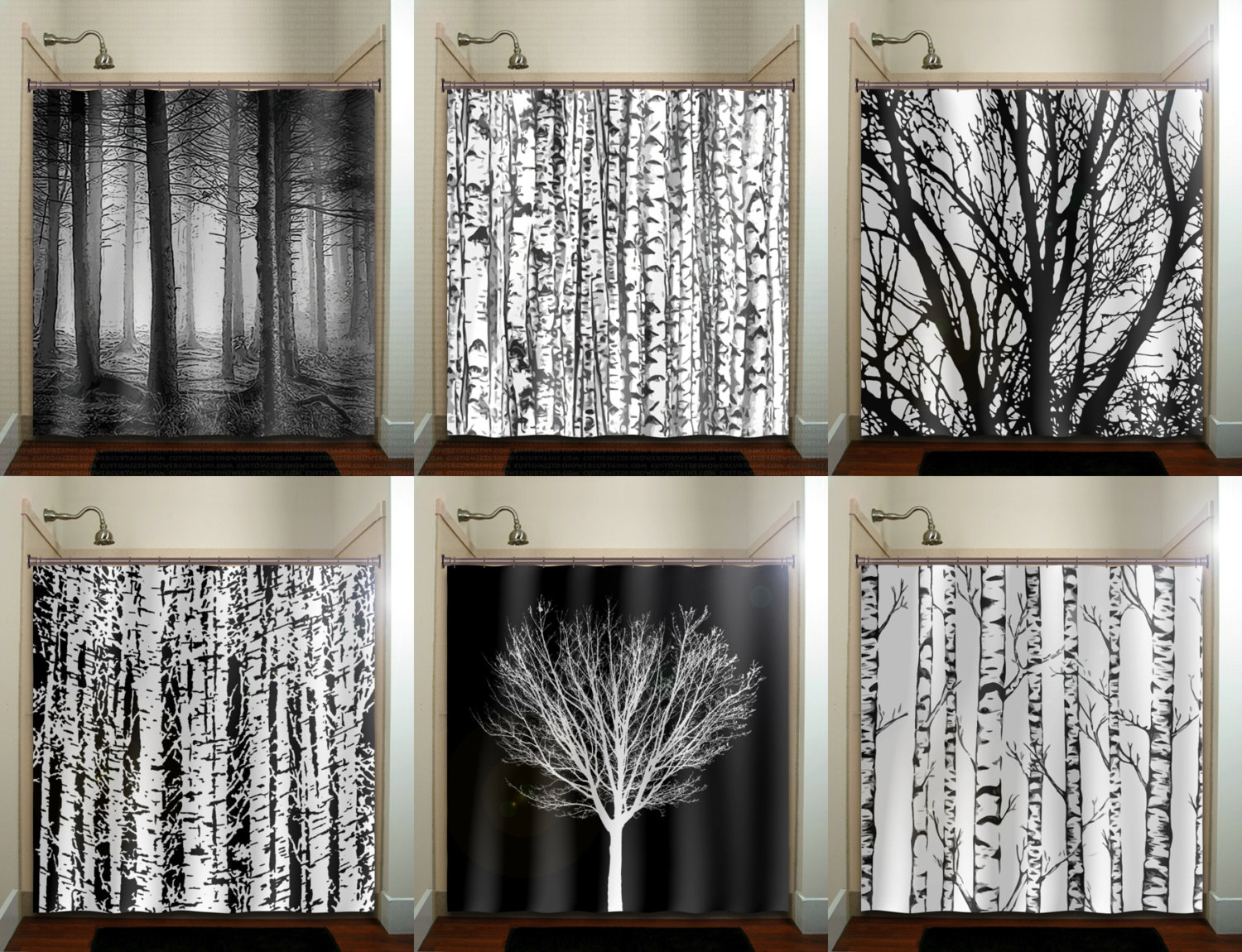 Trunk Forest White Birch Trees Shower Curtain Bathroom Decor Intended For Size 1500 X 1150