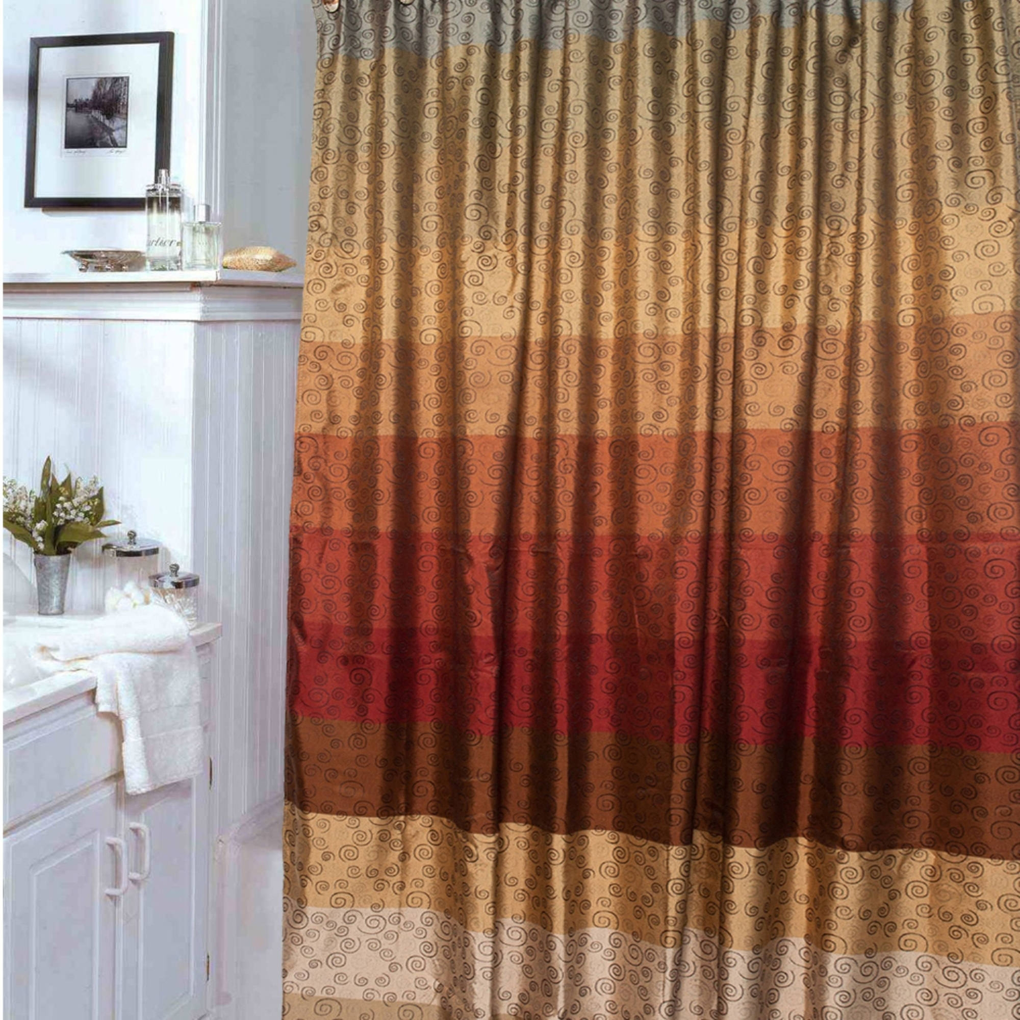 Curtain Ideas Brown And Orange Orange Things Ideas About: Solid Burnt Orange Shower Curtain
