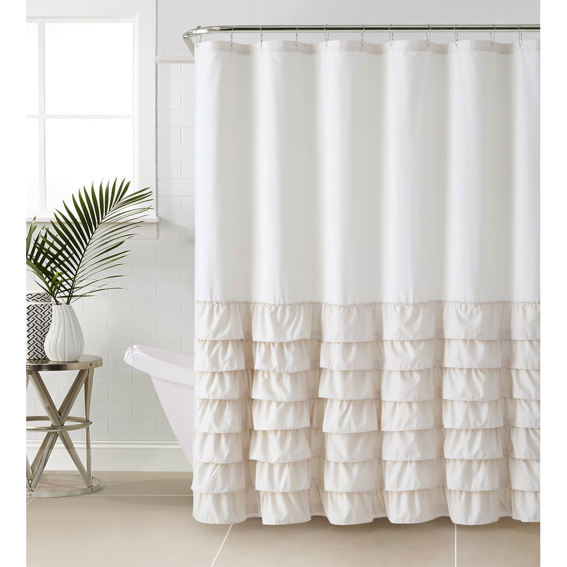 Gray And White Ruffle Shower Curtain • Shower Curtains Ideas