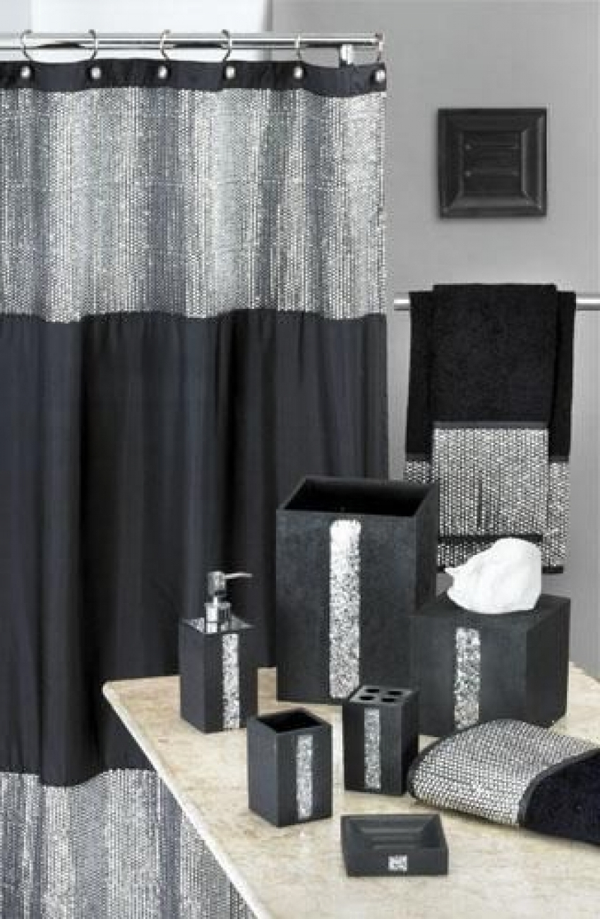 Vegas Style Bathroom Caprice Black Shower Curtain W Sequins Shower intended for dimensions 850 X 1303