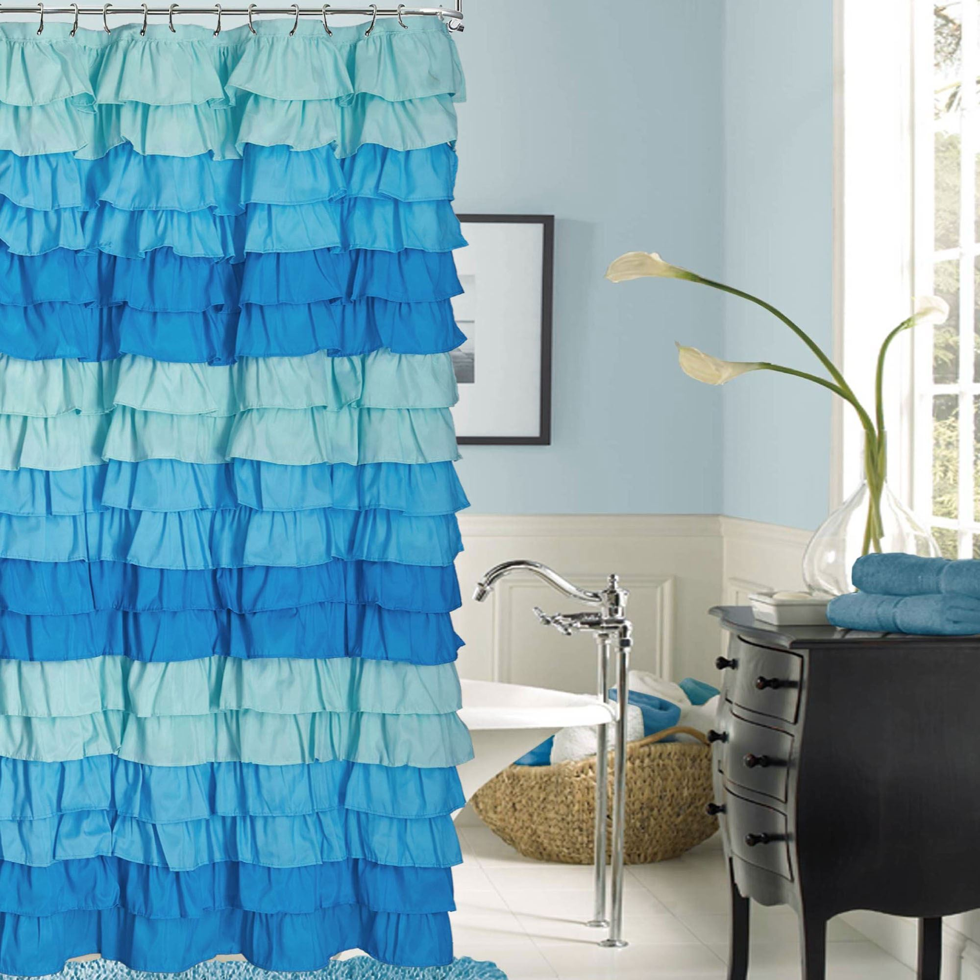Venezia French Blue Ombre Ruffled Shower Curtain within sizing 2000 X 2000