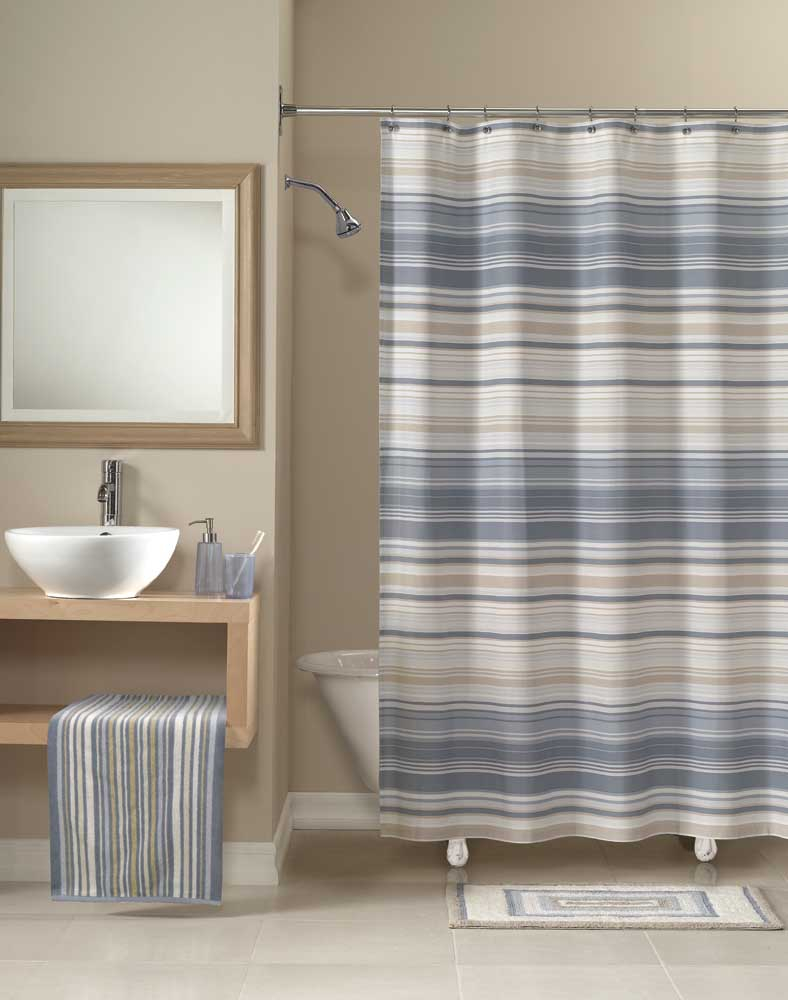 Vertical Striped Shower Curtain Nautica Plaid Cambridge Fabric intended for size 788 X 1000