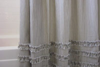 Vintage Ticking Stripe Shower Curtain With Ruffles 11 Color Black for dimensions 850 X 1133