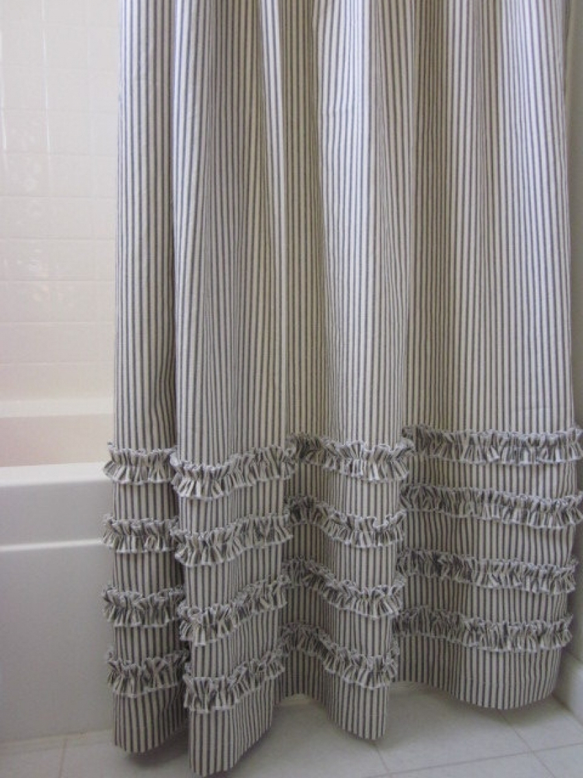 Black And Cream Shower Curtain. Vintage Ticking Stripe Shower Curtain With Ruffles 11 Color Black for  dimensions 850 X 1133 And Cream Curtains Ideas