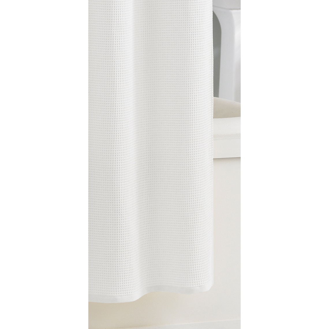 White Cotton Shower Curtain Waffle • Shower Curtains Ideas