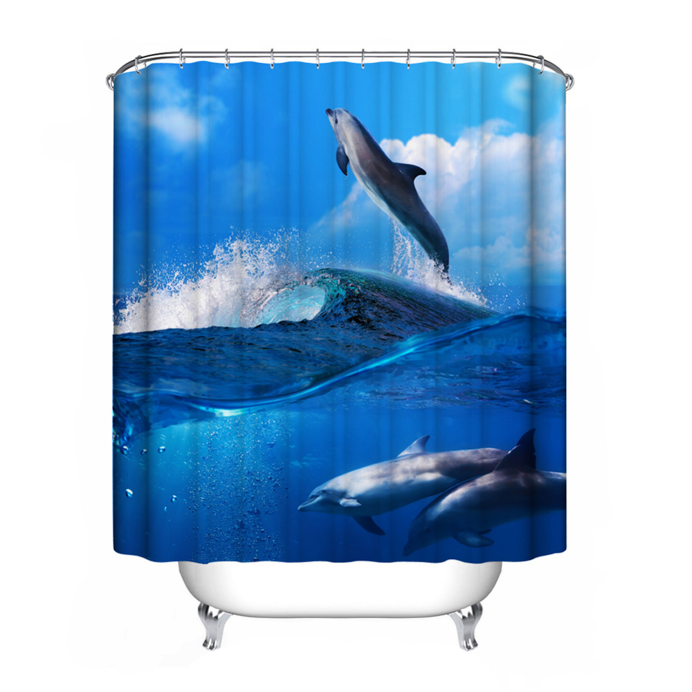 Waterproof Mildewproof Blue Sea Dolphin Shower Curtain Bathroom Regarding Proportions 1000 X