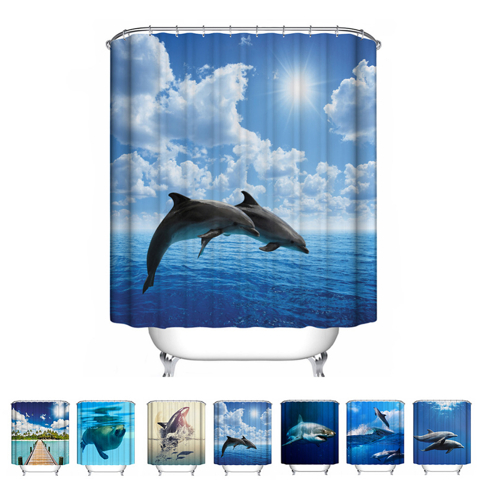 Waterproof Mildewproof Blue Sea Dolphin Shower Curtain Bathroom With Regard To Sizing 1000 X