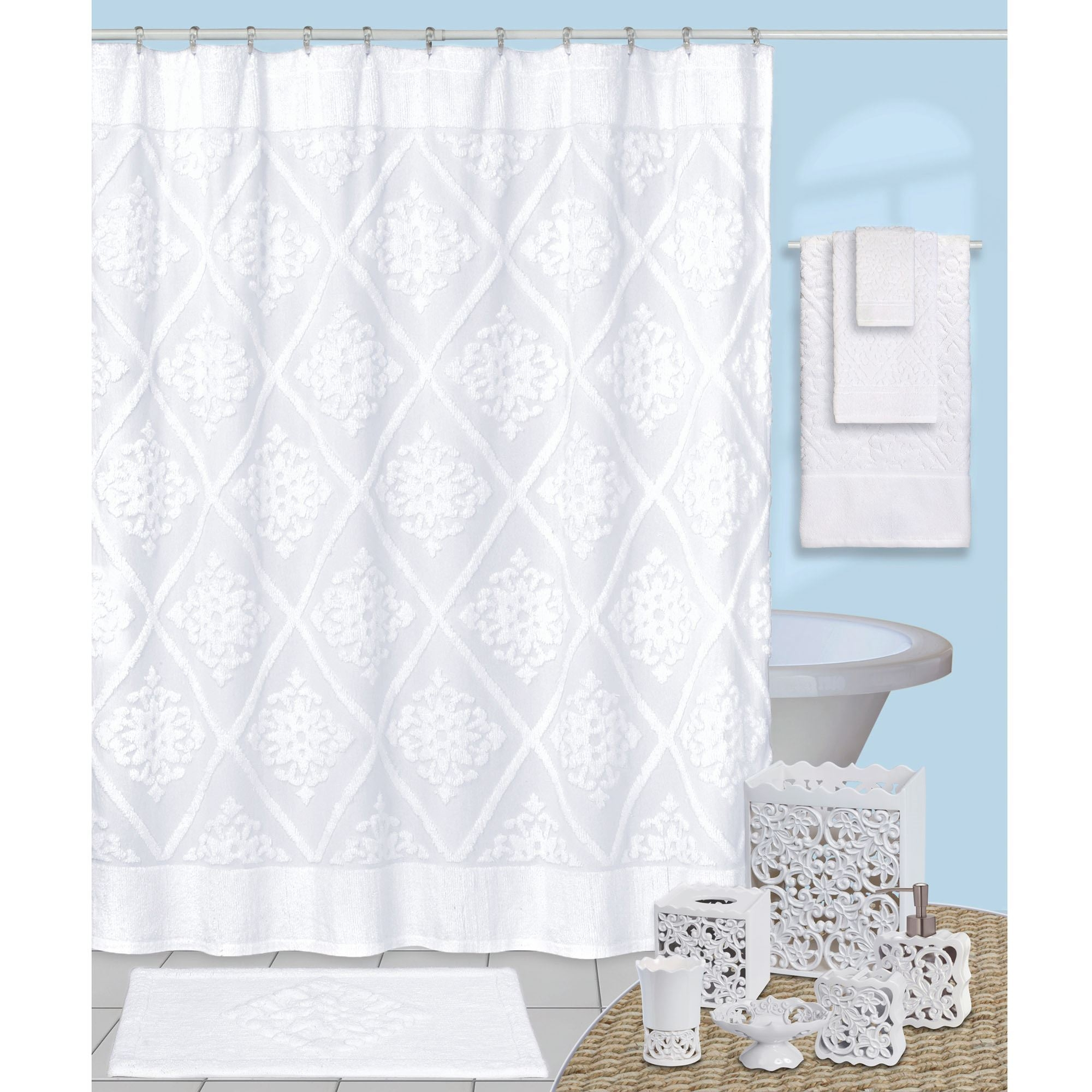 White Chenille Shower Curtain Design For Measurements 2000 X