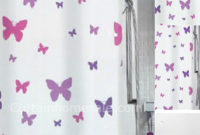 White Shower Curtains With Purple Pink Butterflies Pictures On It inside dimensions 1421 X 1802