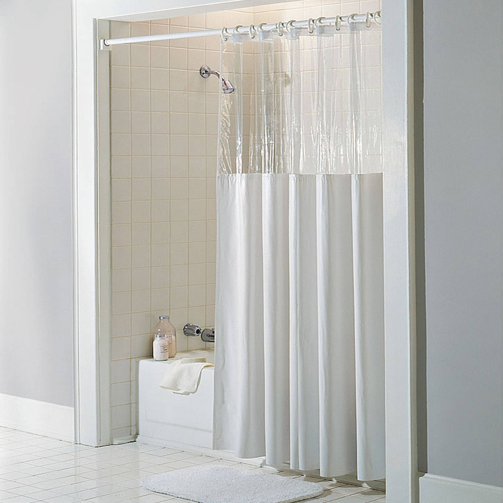 White Vinyl Windowed Shower Curtain Liner Clear Top Extra Long 72 regarding size 2000 X 2000
