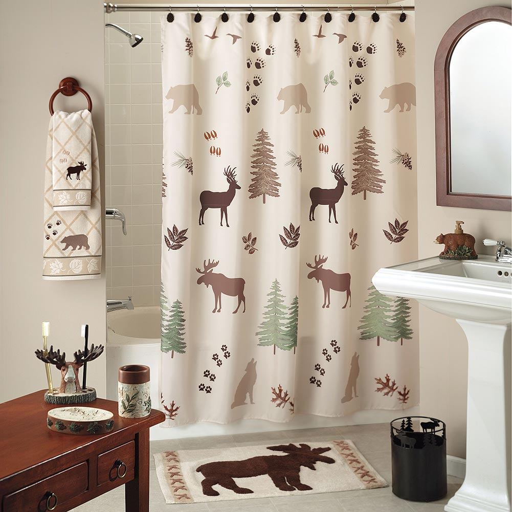 Wilderness Lodge Shower Curtain Collection Cabin Place with regard to sizing 1001 X 1001