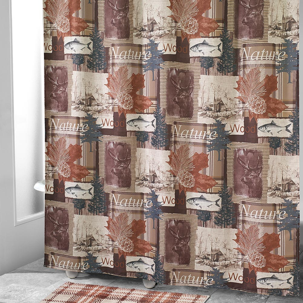 Wilderness Retreat Shower Curtain Accessories Cabin Place inside sizing 1001 X 1001