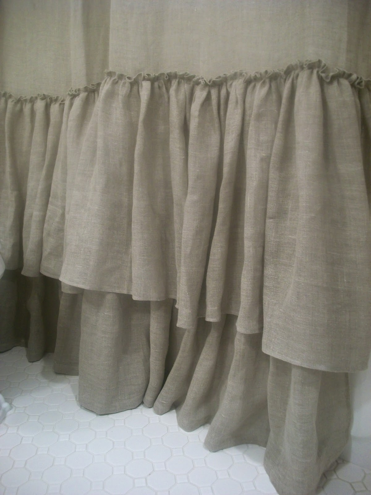 Ruffle Linen Shower Curtain • Shower Curtains Ideas
