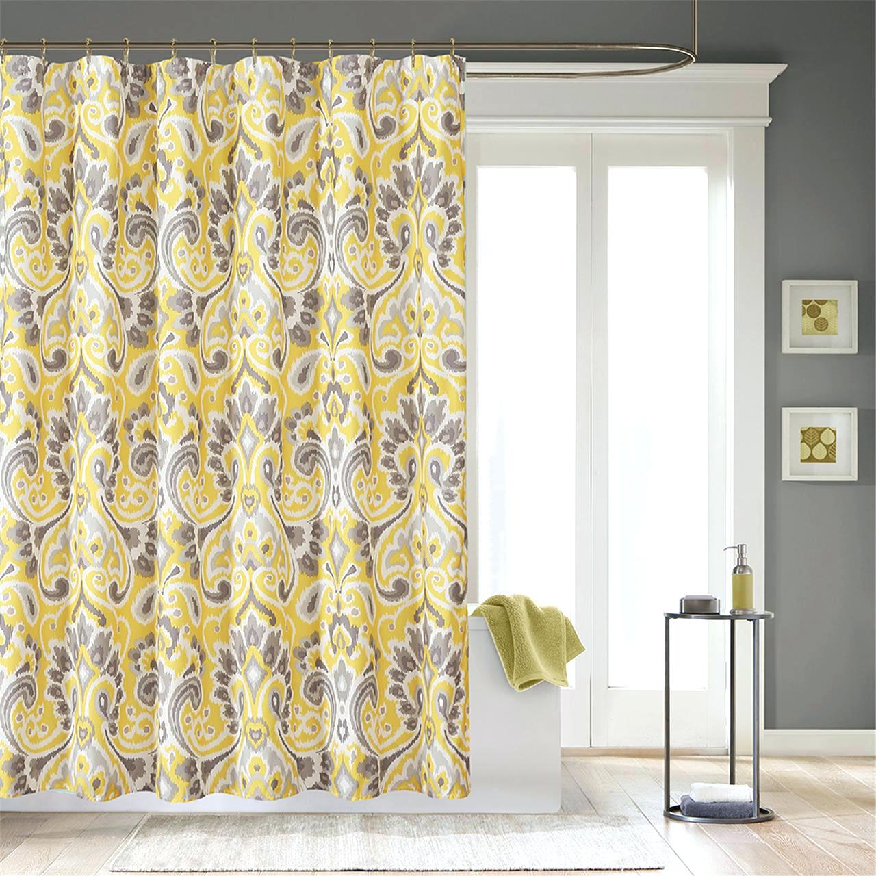 Yellow And Gray Damask Shower Curtain Shower Curtains Design In  Measurements 1280 X 1280