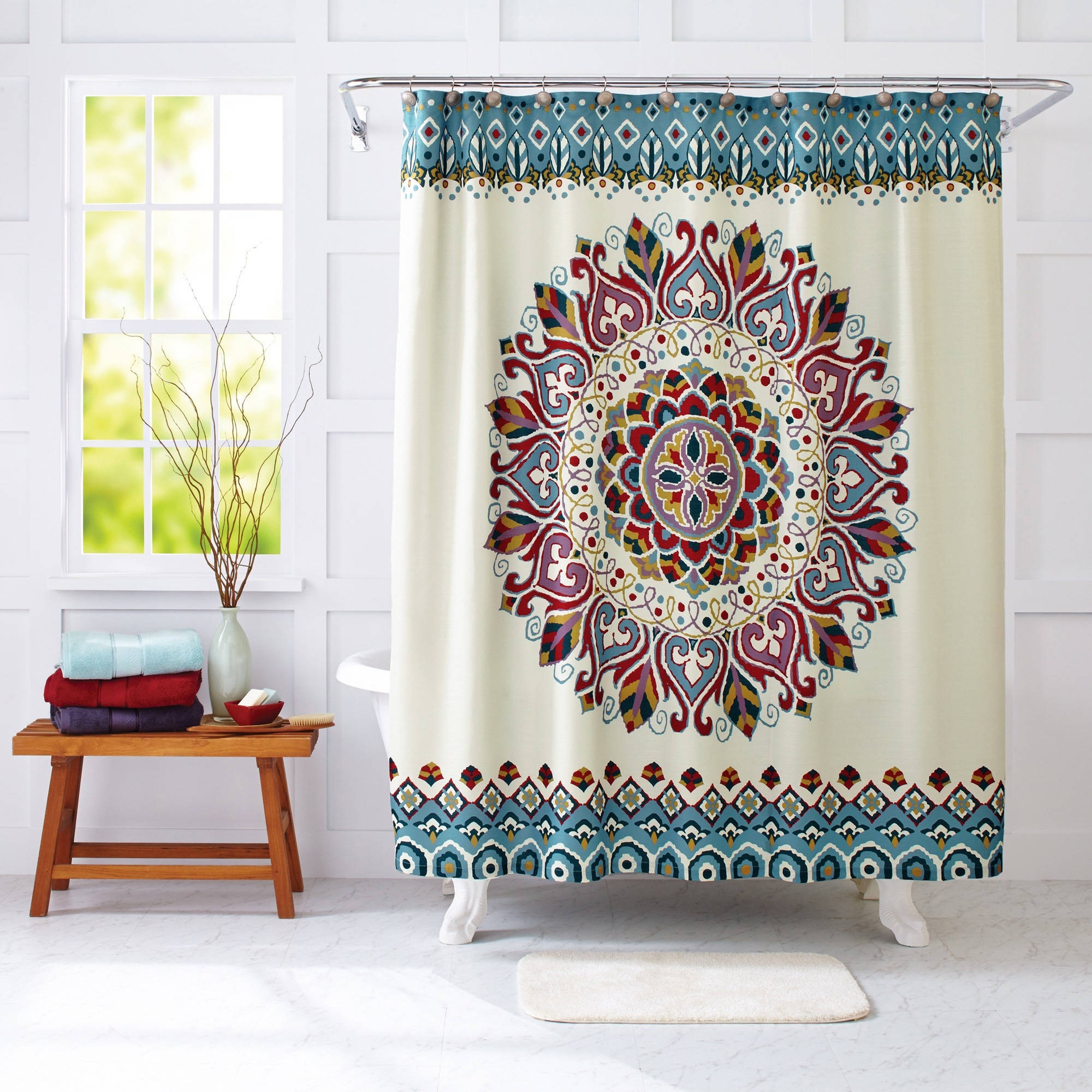 Yellow And Gray Medallion Paisley Print Shower Curtain Shower Throughout  Size 2000 X 2000