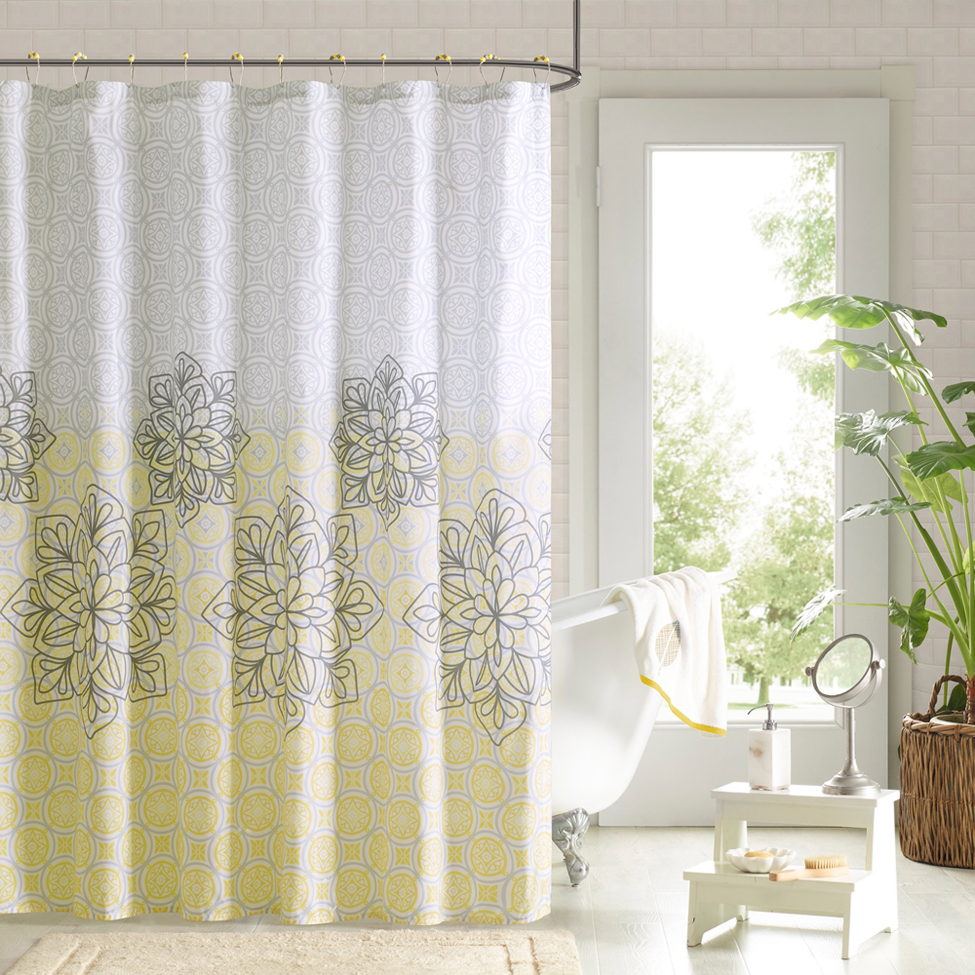 Yellow And Gray Medallion Paisley Print Shower Curtain Shower with sizing 2000 X 2000