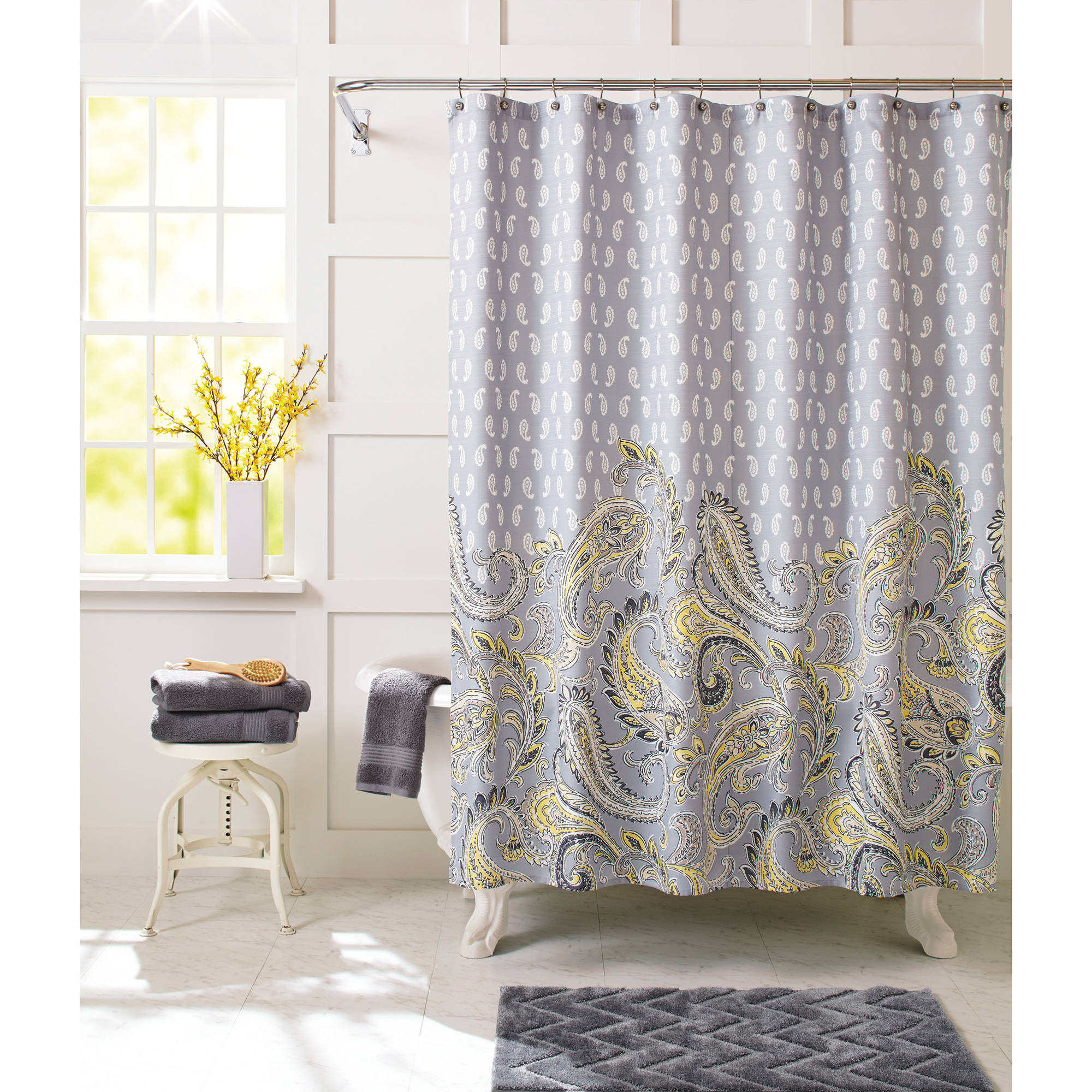 Yellow Grey And White Shower Curtain • Shower Curtains Ideas
