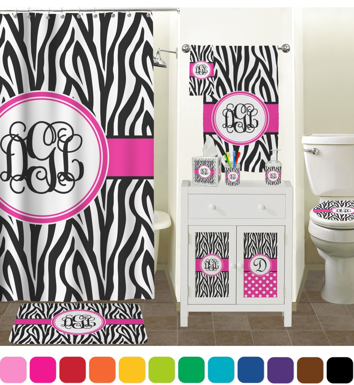 Zebra Print Shower Curtain Personalized Potty Training Concepts intended for sizing 1376 X 1500