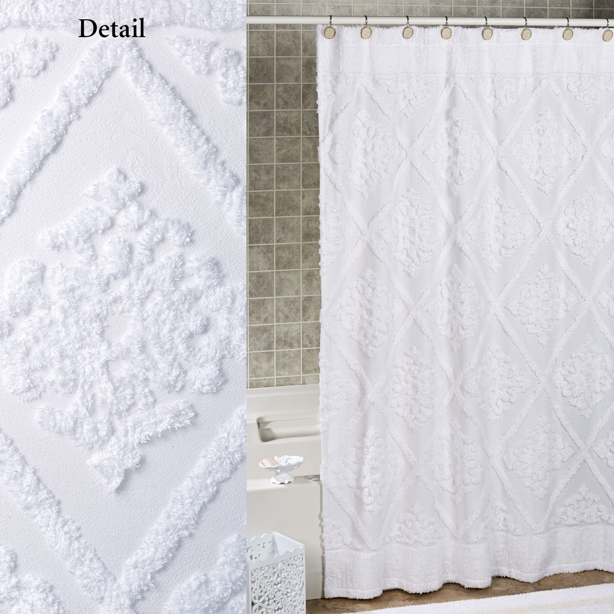 Belle White Cotton Chenille Shower Curtain With Dimensions 2000 X
