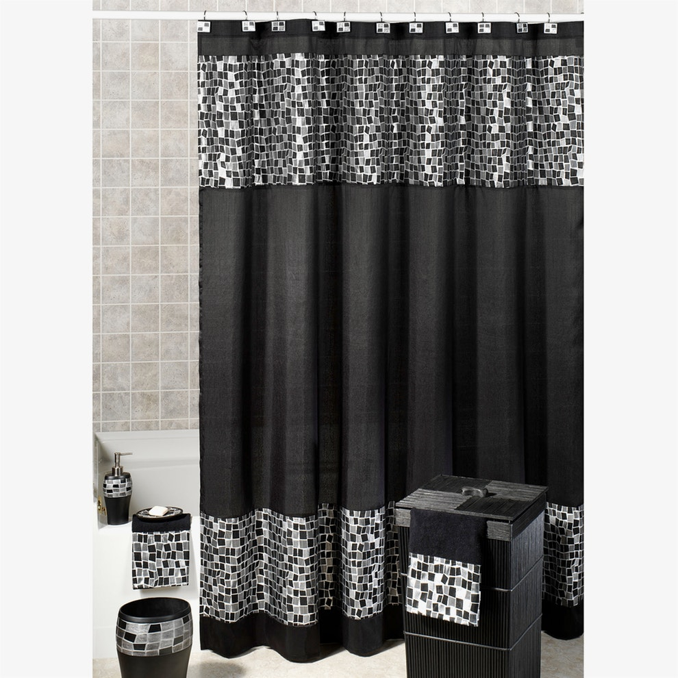 Black Sparkle Shower Curtains Caprice White Shower Curtain W within proportions 990 X 990