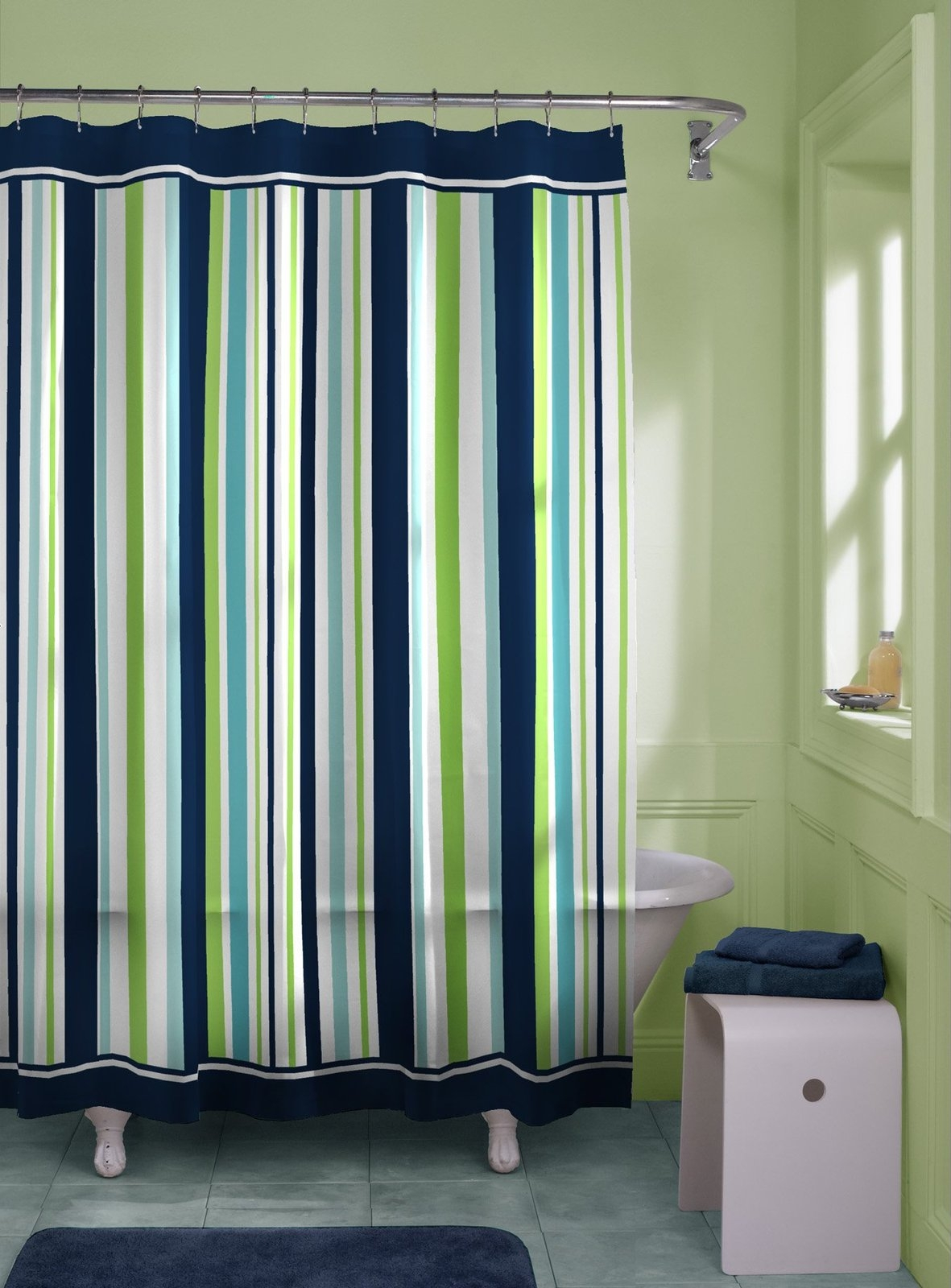 Brand new Blue And Green Striped Shower Curtains • Shower Curtains Ideas DL08