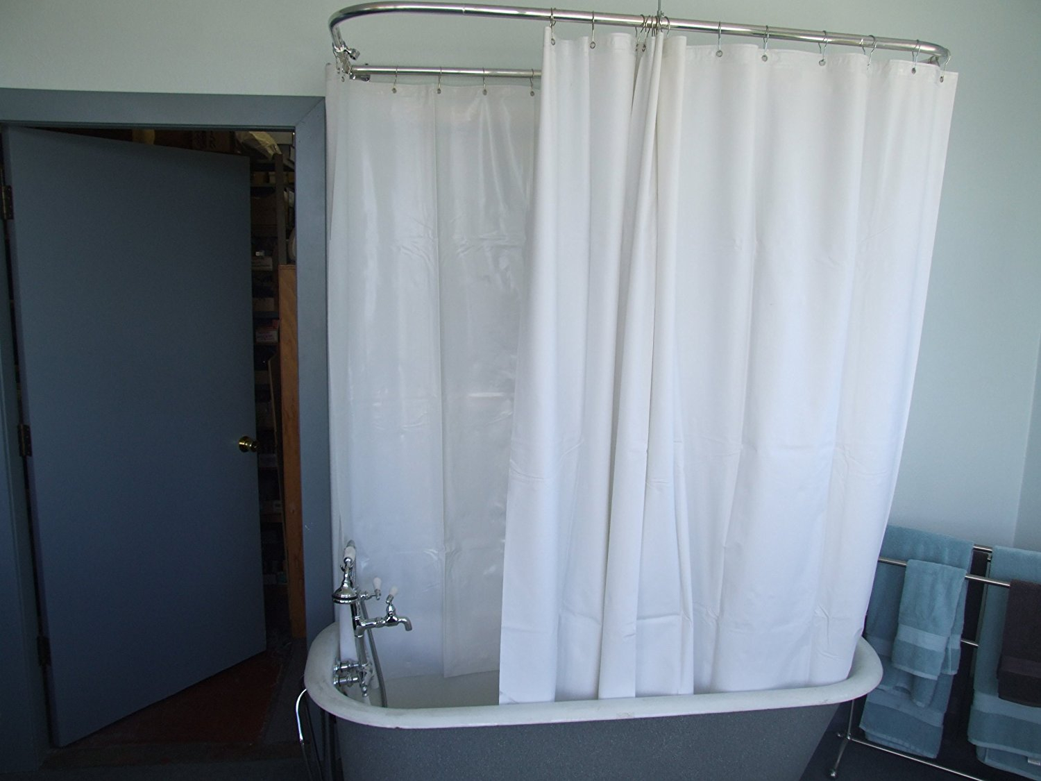 Extra Wide Shower Curtain Liner For Clawfoot Tub Curtains