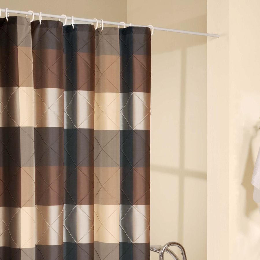 Brown and green striped shower curtain curtain for Patterned curtains and drapes