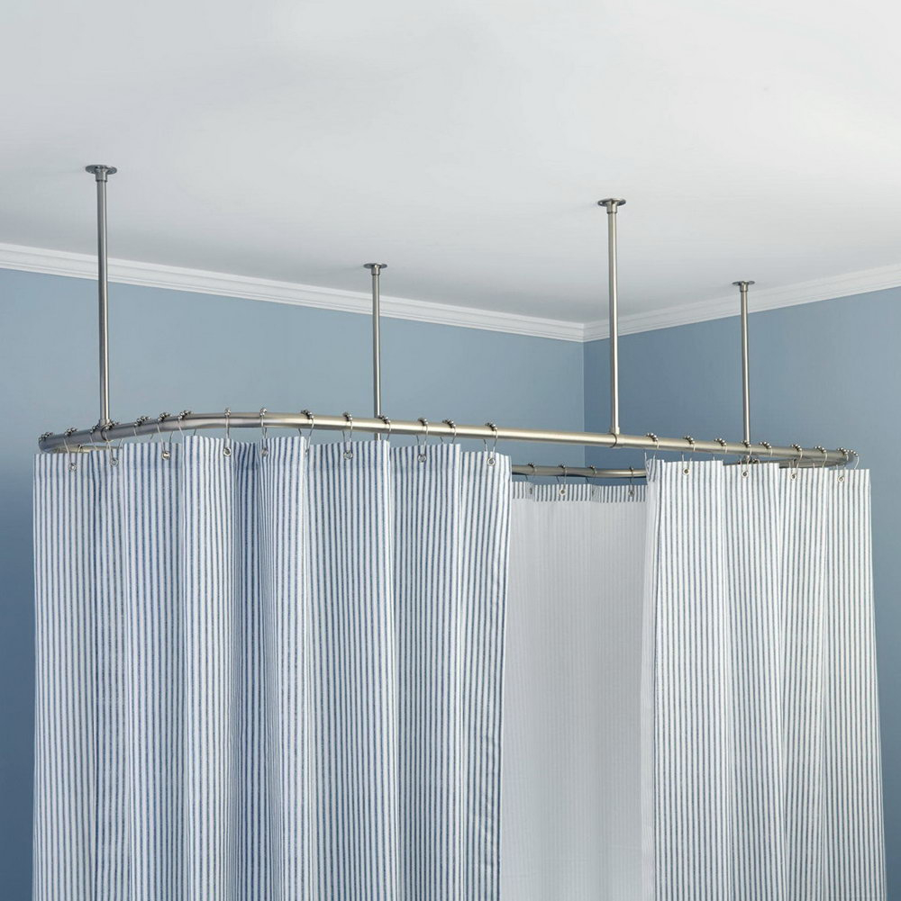 Curved Ceiling Mounted Shower Curtain Track Curtains Ideas
