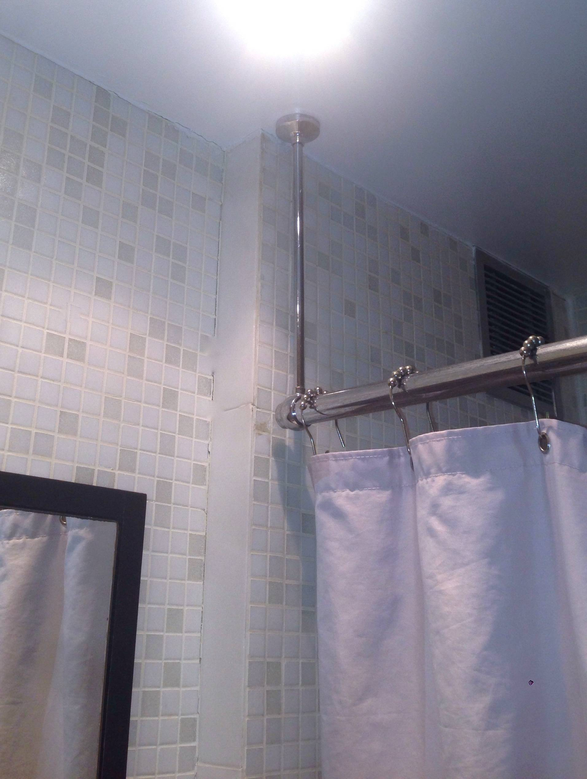 Ceiling Mounted Corner Shower Curtain Rod